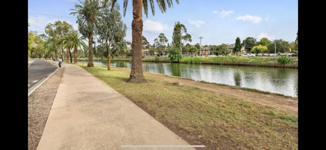 Riverside, overlooking river close to cafes, walks