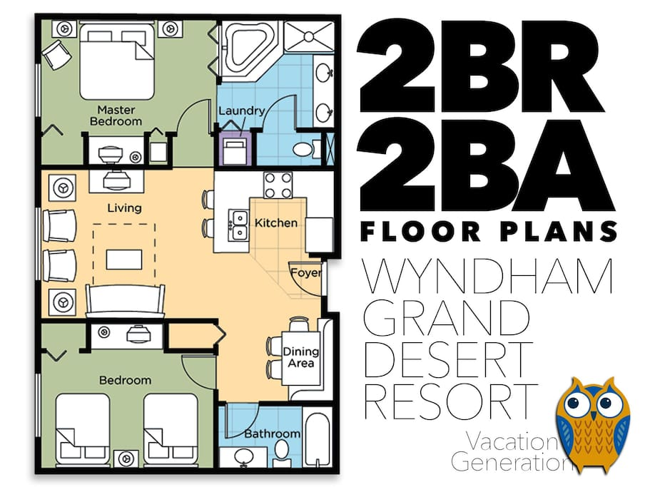 Floor plans and layout for 2 bedroom deluxe condo.