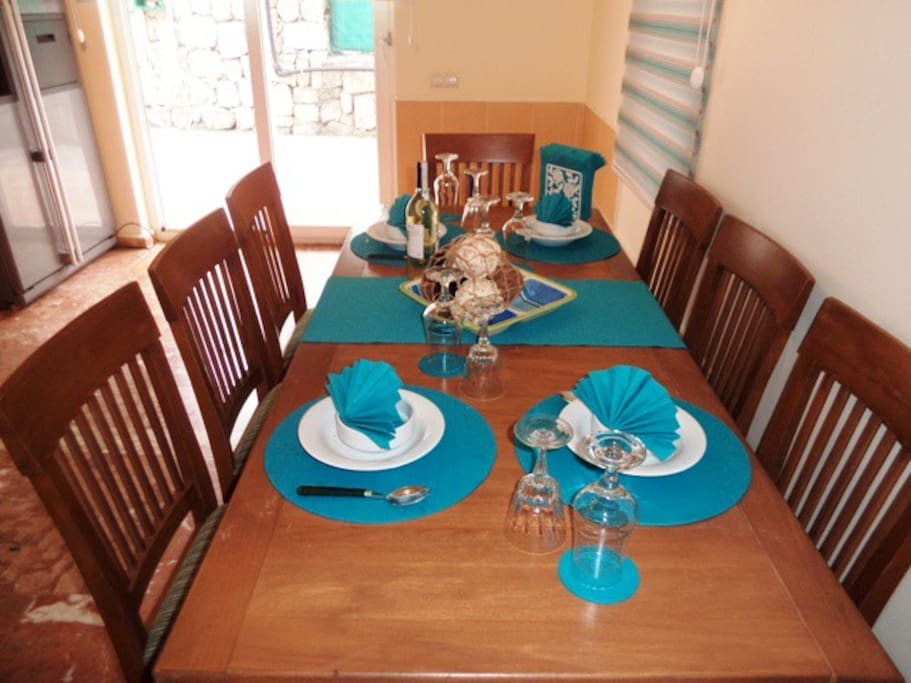 table set in the kitchen