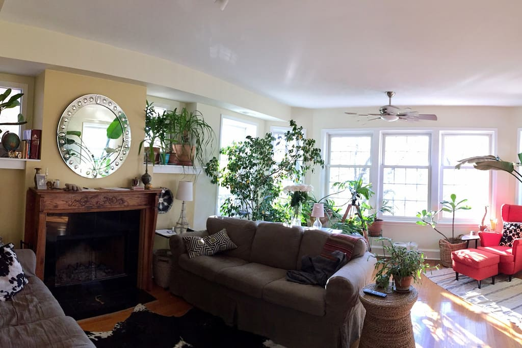 Large living room with spectacular view of Palmer Square