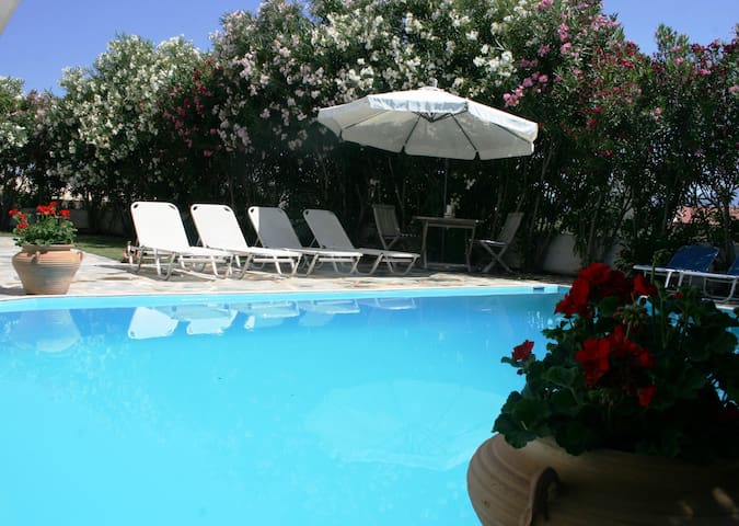 Pool area - surrounded by Oleanders, Geraniums and Jasmin