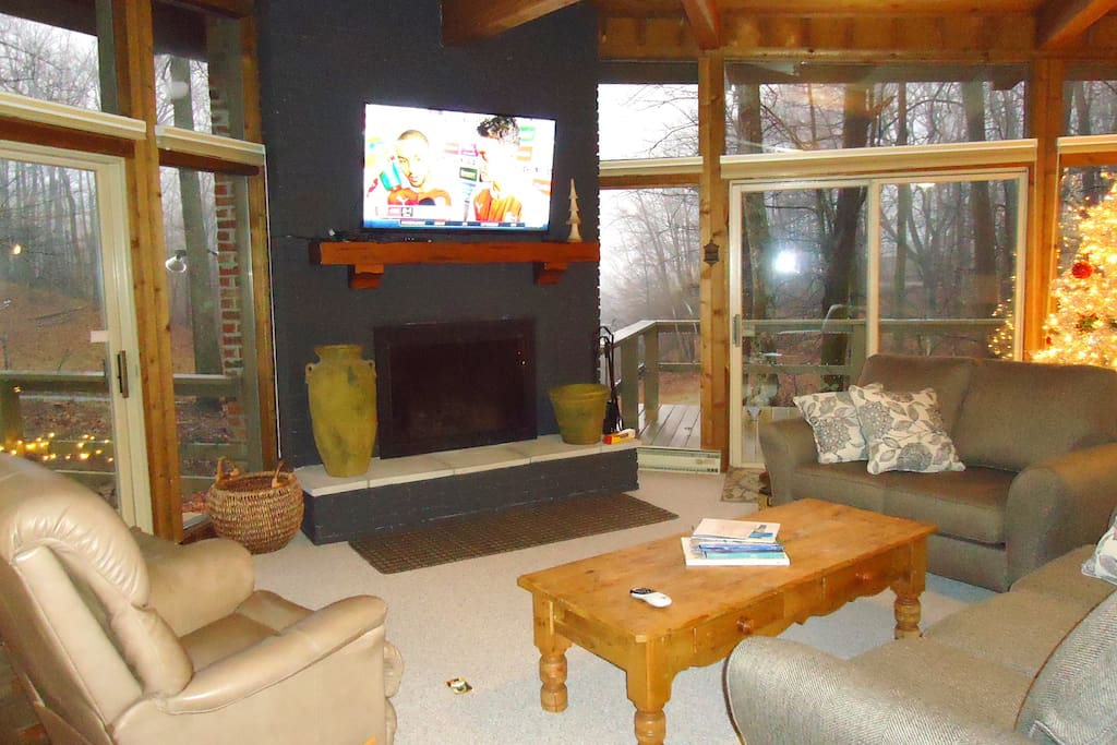 Living Room - Fireplace, Large Screen with Satellite