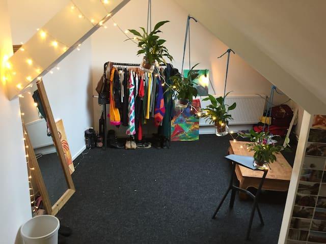 Lovely big room with huge skylight + bike - Groningen - Apartamento