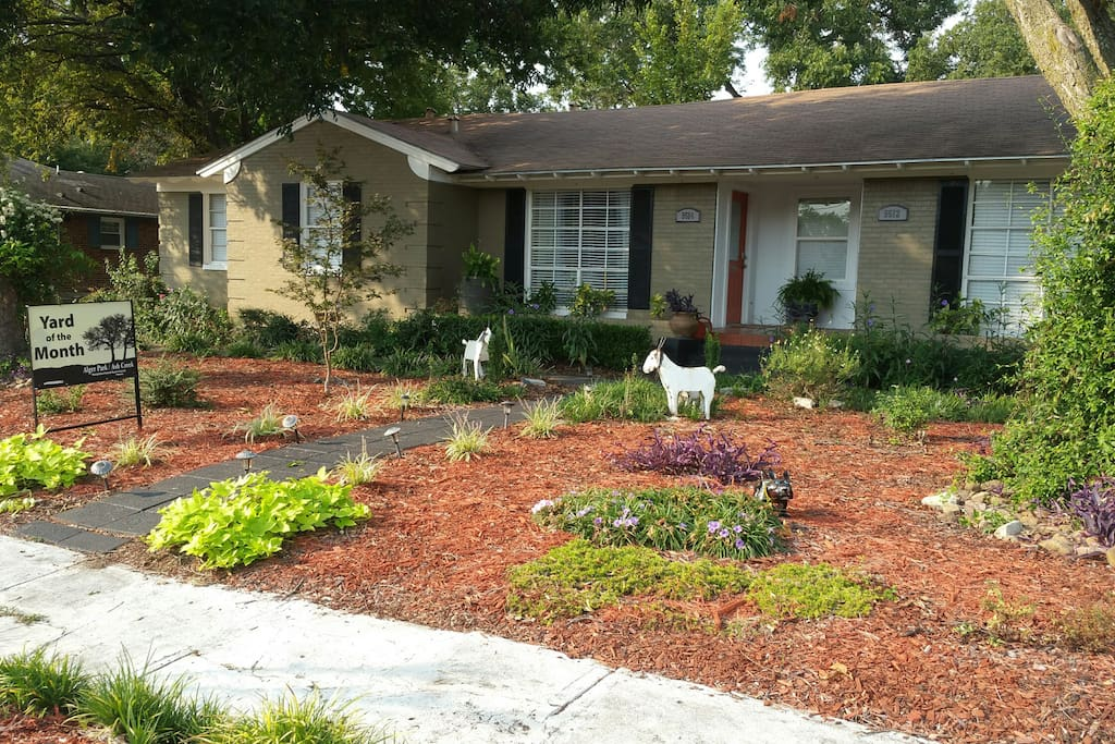 Xeriscape Yard.  Feel free to ask questions about the yard during your stay.   Plants, shrubs, watering (little). etc