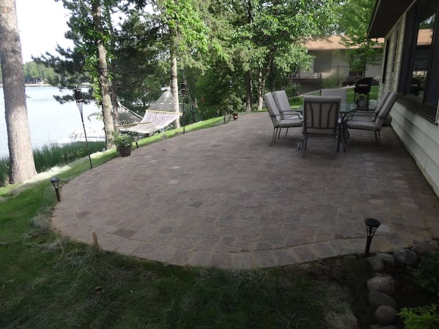 Large patio overlooking the lake