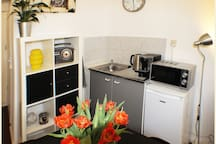 Cute Corner Including Brand New Fridge, Magnetron, Nespresso Coffee Machine + Water Cooker