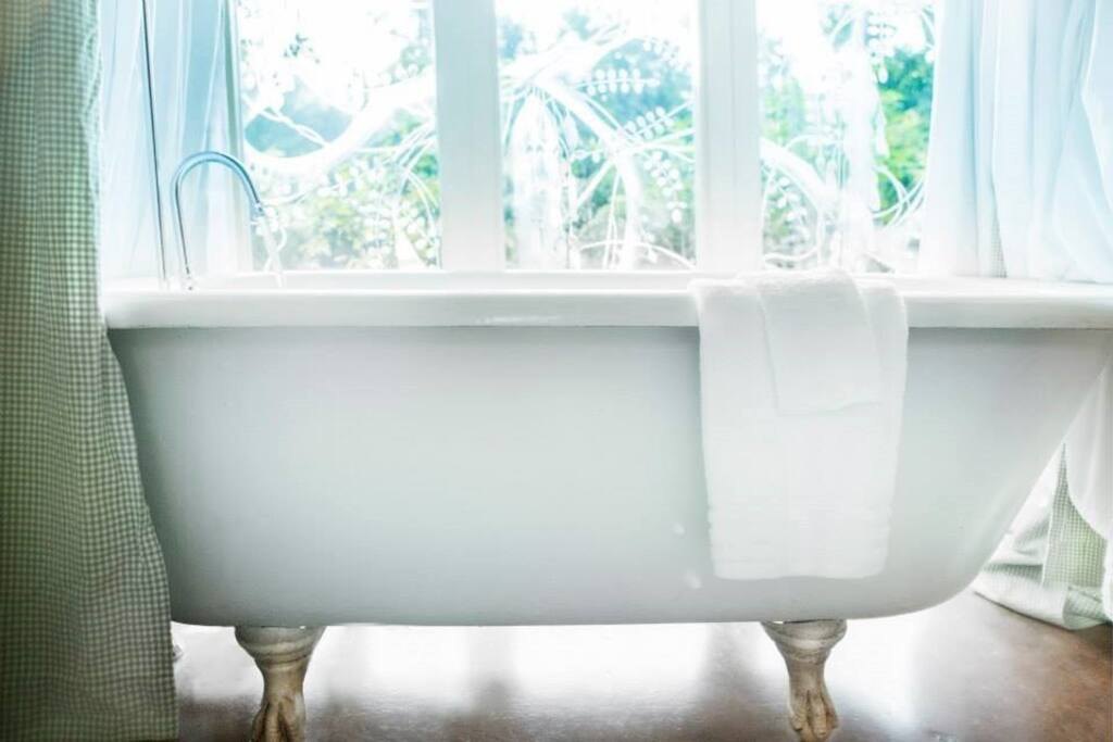 clawfoot tub overlooking the back fields