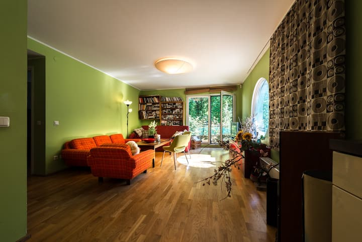 Bright apartment with balcony and great location.