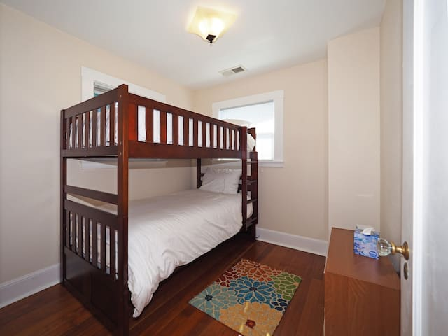 Upstairs bedroom with bunk beds.  Soft and oh so comfortable!