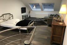 Dachstudio mit Doppelbett, TV, Sofa und 2 Doppelfenstern in Südwestrichtung