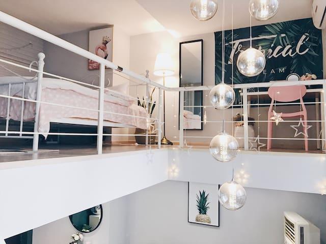 【沐恩】观音桥九街步行街轻轨6号线北欧艺术设计68平米落地窗跃层loft公寓