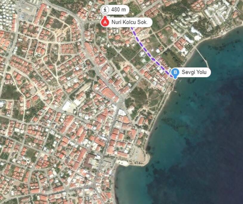 Mare ve hastanealtı plajına 480 metre