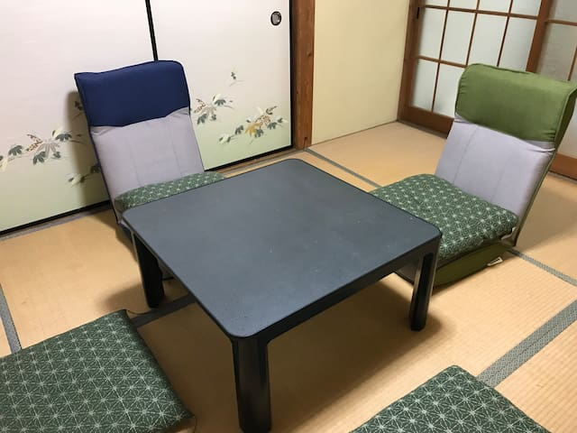 Living room for maximum 5 guests. Guests can be relaxed and take a nap on Tatami.