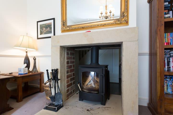 Multi burning stove in the snug.