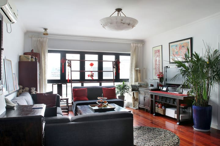 Chinoiserie style bedroom, superb central location - Shanghai - Wohnung