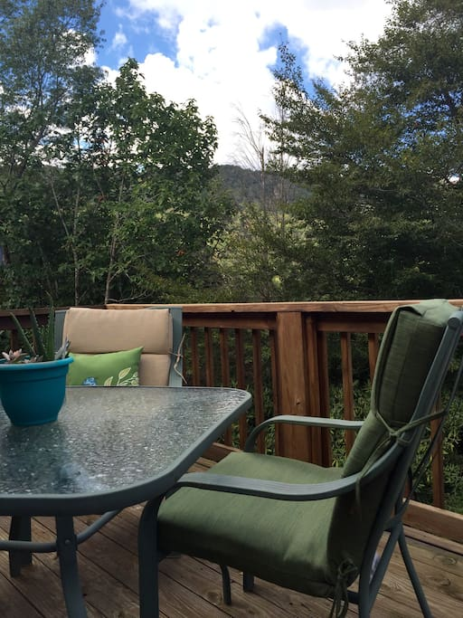 Beautiful private patio with a great view of the mountainside.  Nice views of the ski resort during the winter.