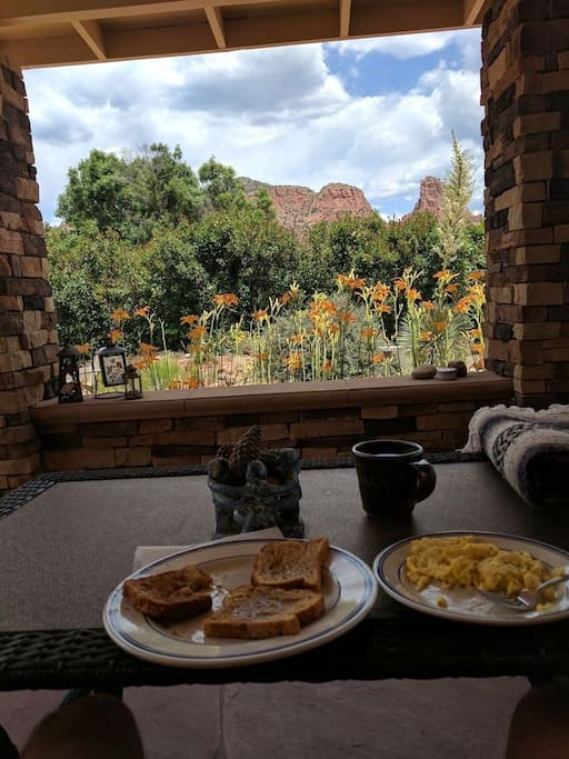 Breakfast on the patio. Unbeatable view!