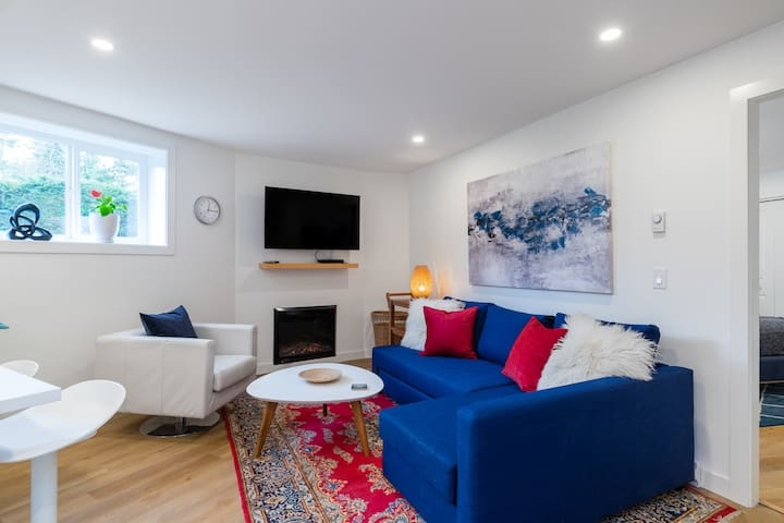 """Living room with 50"""" Smart TV and cozy electrical fireplace.  Extendable sofa bed."""