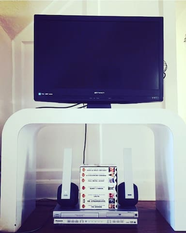 Digital TV with HDMI cable to watch from your laptop or the Stanley Kubrick collection on VHS!