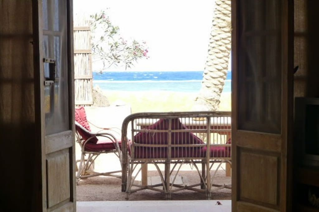 The view of the Red Sea over to Saudi Arabia from the lounge