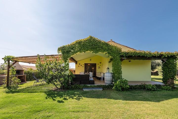 Villa con giardino a 400 m dalla spiaggia.  Q1355