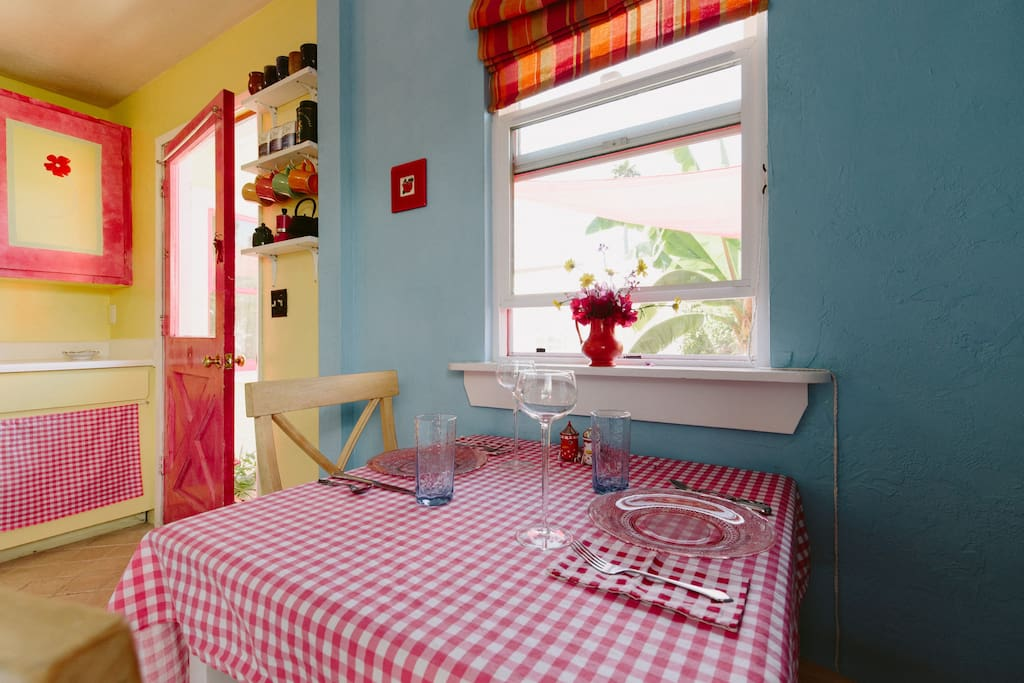 The red door opens into the little dining area. We have since remodeled the kitchen.