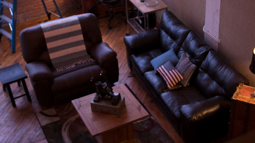 Recliner chair for two and Leather Sofa