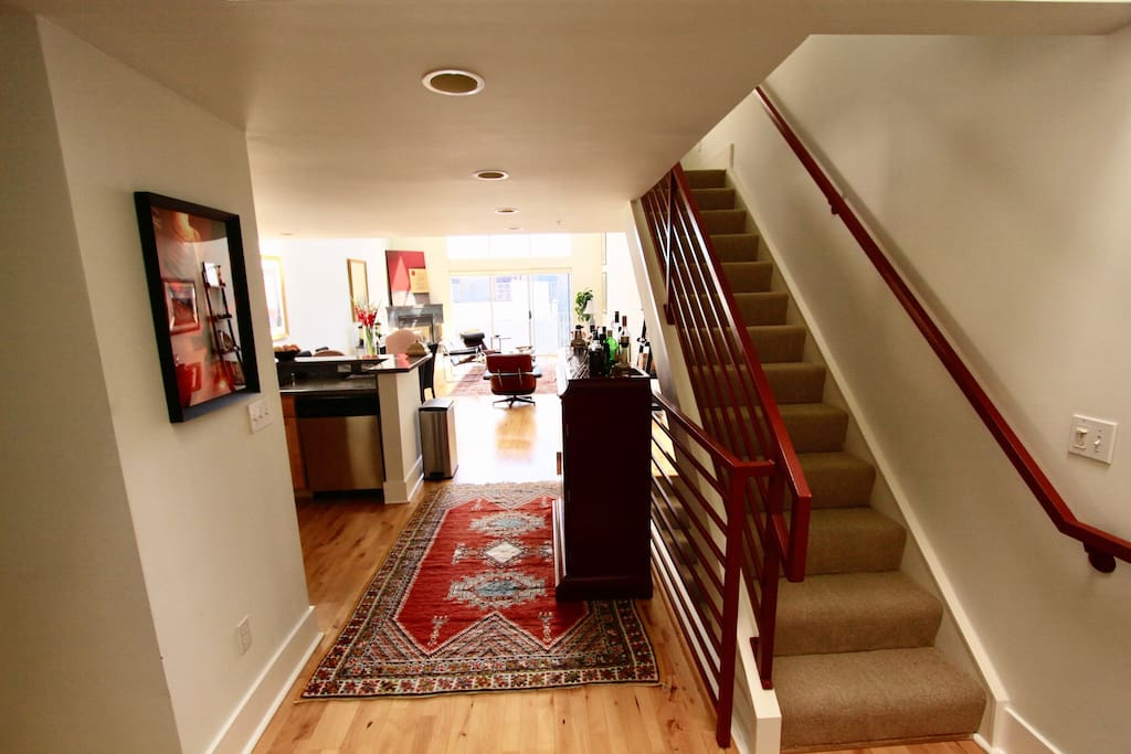 Upon entering the main level of the condo (top most floor), the stairs to the right take you to your private loft.