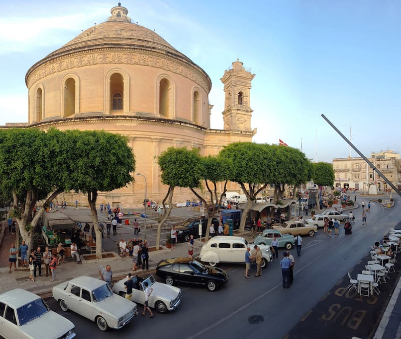 View of the square and Mosta Dome from the balcony.