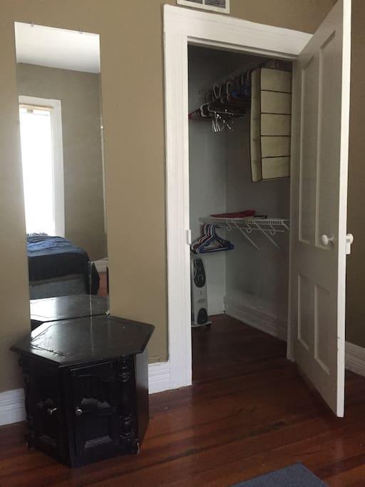 Mirror and spacious closet.