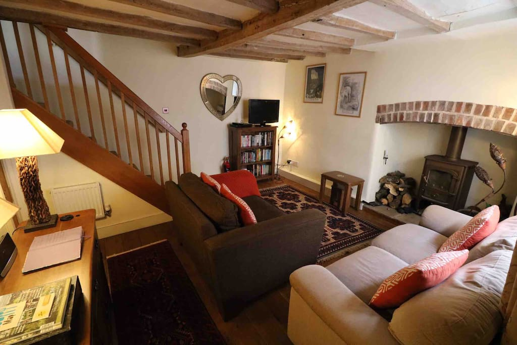 Cosy lounge with log burner (small amount of complementary logs provided) TV, DVD player, WiFi.