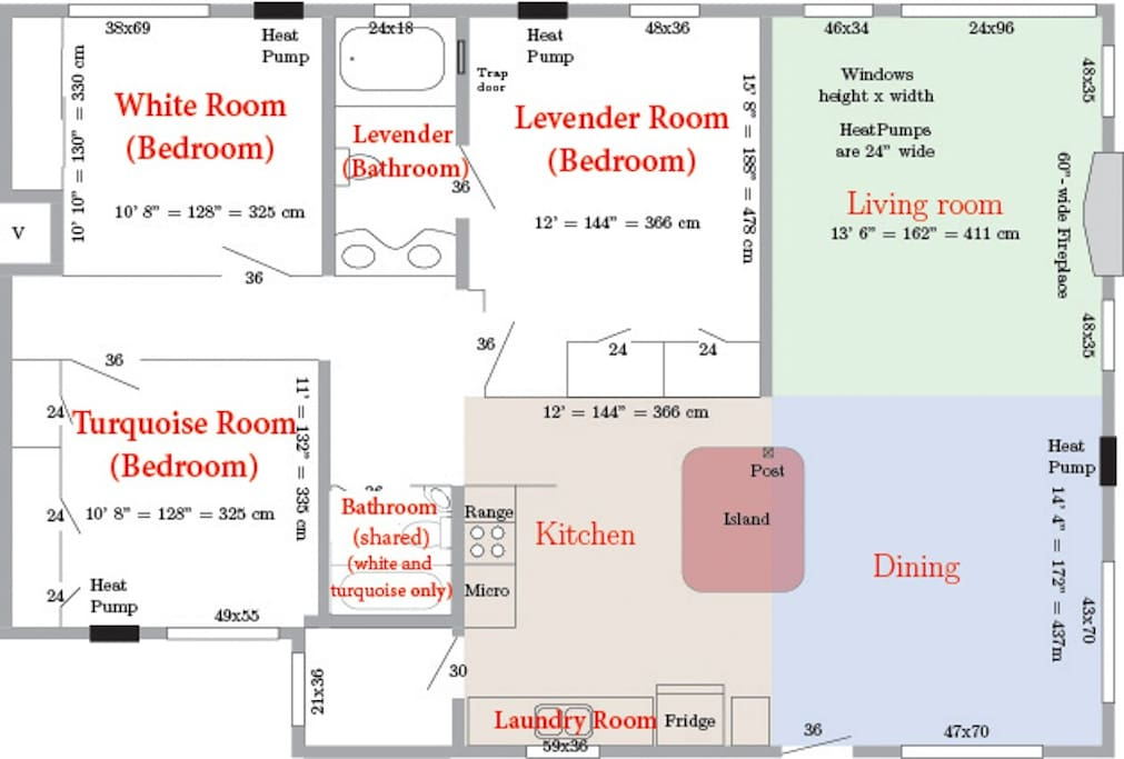Gillespie House Floor Plan. It is a 1200+ sq. ft. house! Don't get lost! This shows both the private areas of this room and the shared areas of the house.
