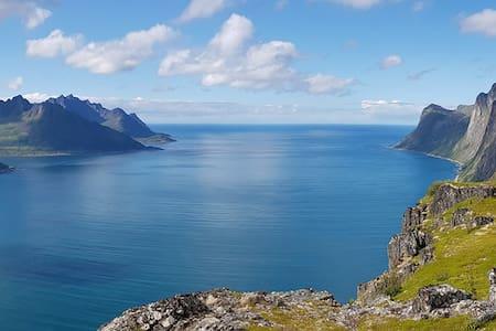 At the foot of Segla Mountain in Fjordgard, Senja