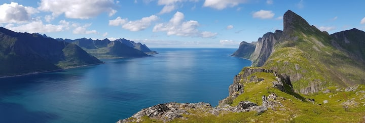 At the foot of Segla Mountain in Fjordgard, Senja