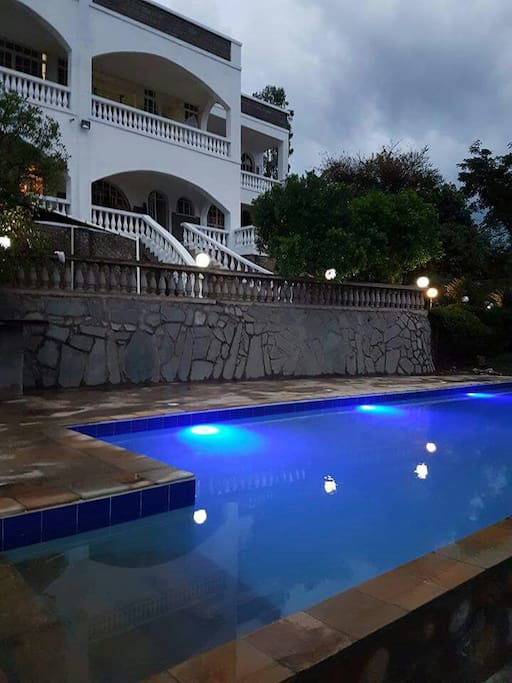 pool lighting in the evening