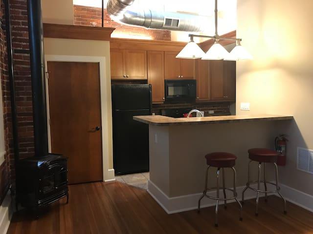 Friendly kitchen workspace.