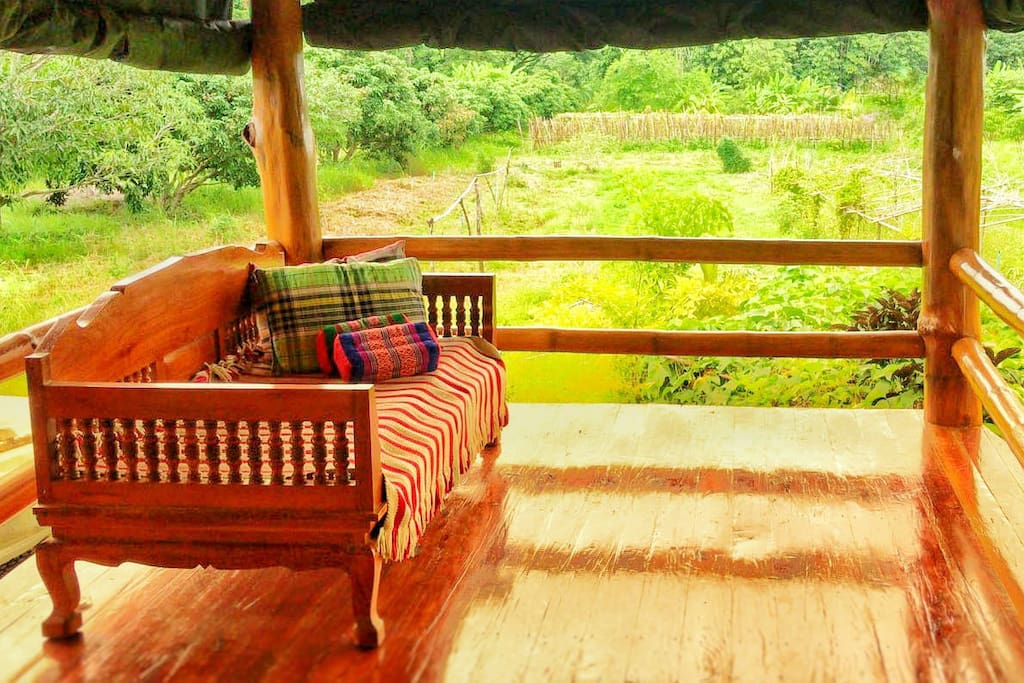 Relax corner in front of your bed room which can get you a sunrise and sunset view