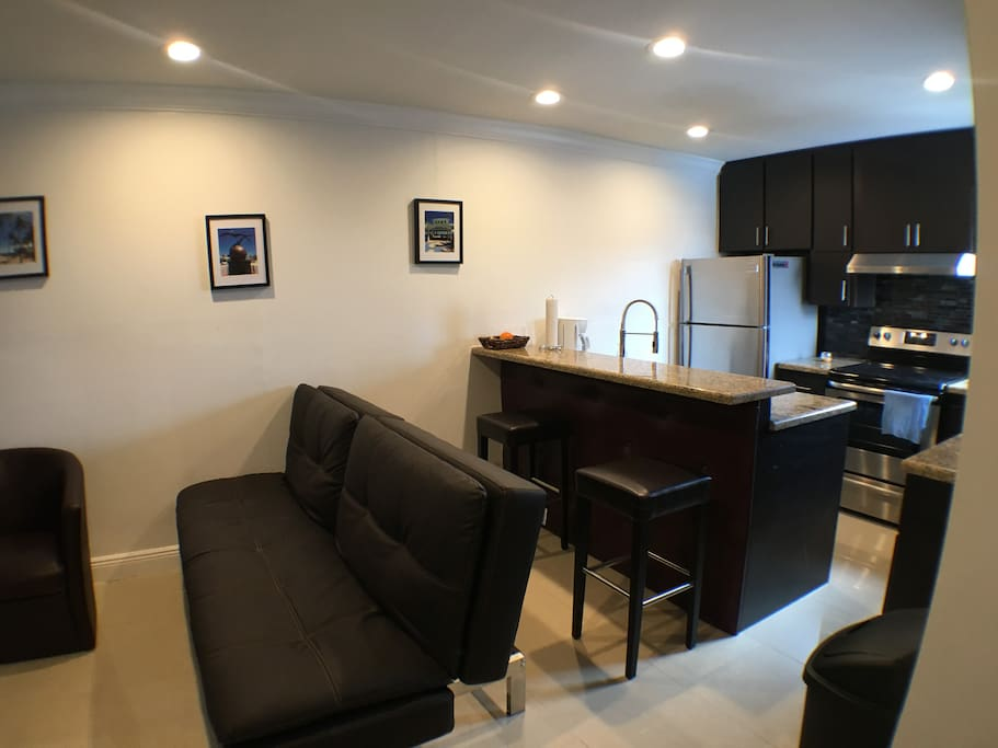 Beautiful all new leather furniture and remodeled kitchen.
