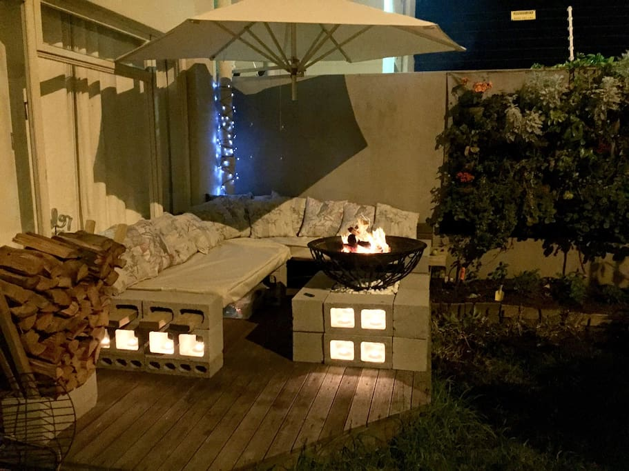 outside chill and fire place (in private garden)