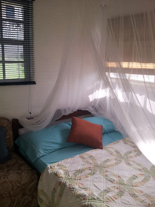 Bed with mosquito net.