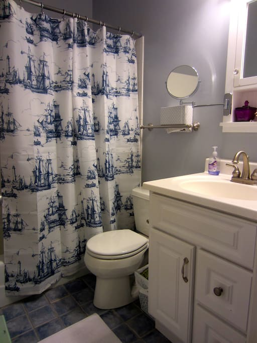 Clean shared bathroom with hairdryer, shampoo/conditioner.