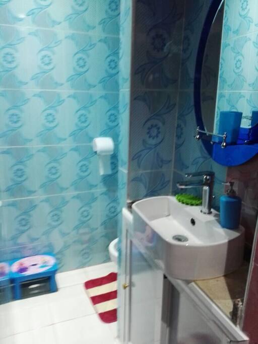 Wc et douche sur la droite