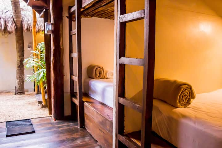 Bunk beds mix dorm Hostal at Tulum gold zone