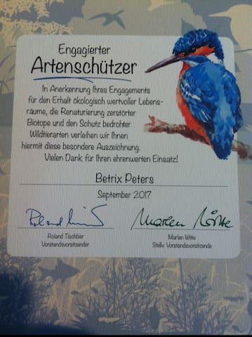 "Zertifikat ""StiftungPro Artenschutz"