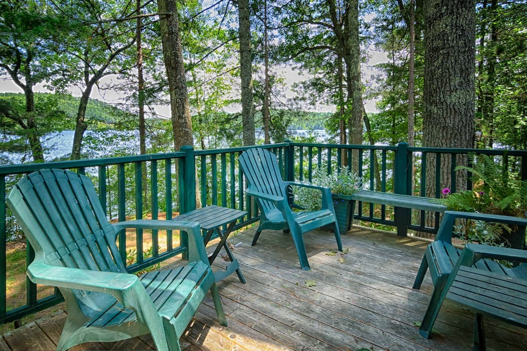 "We call this the ""Morning Coffee Deck"" with southeast views overlooking the lake."