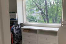 Master walk-in closet with view of Mt Sopris (in winter).