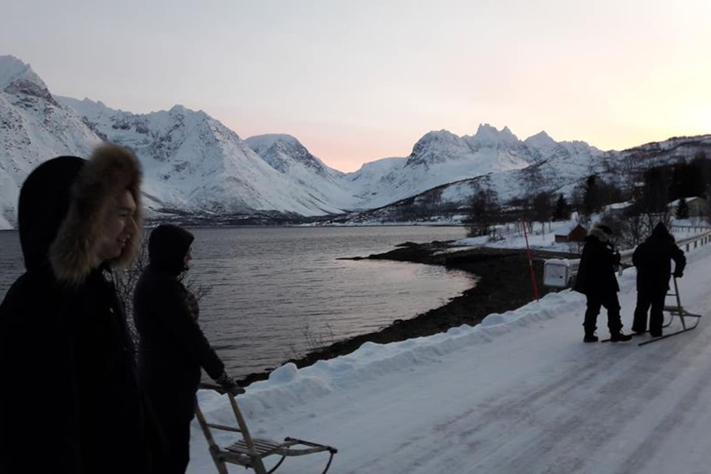 northern light chasing with view to lyngen alps igloos for rent