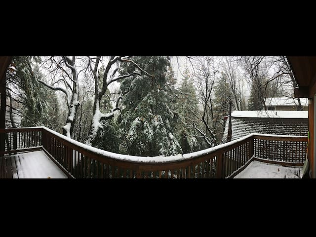 Snow on the deck iphone pano, Thanksgiving 2016