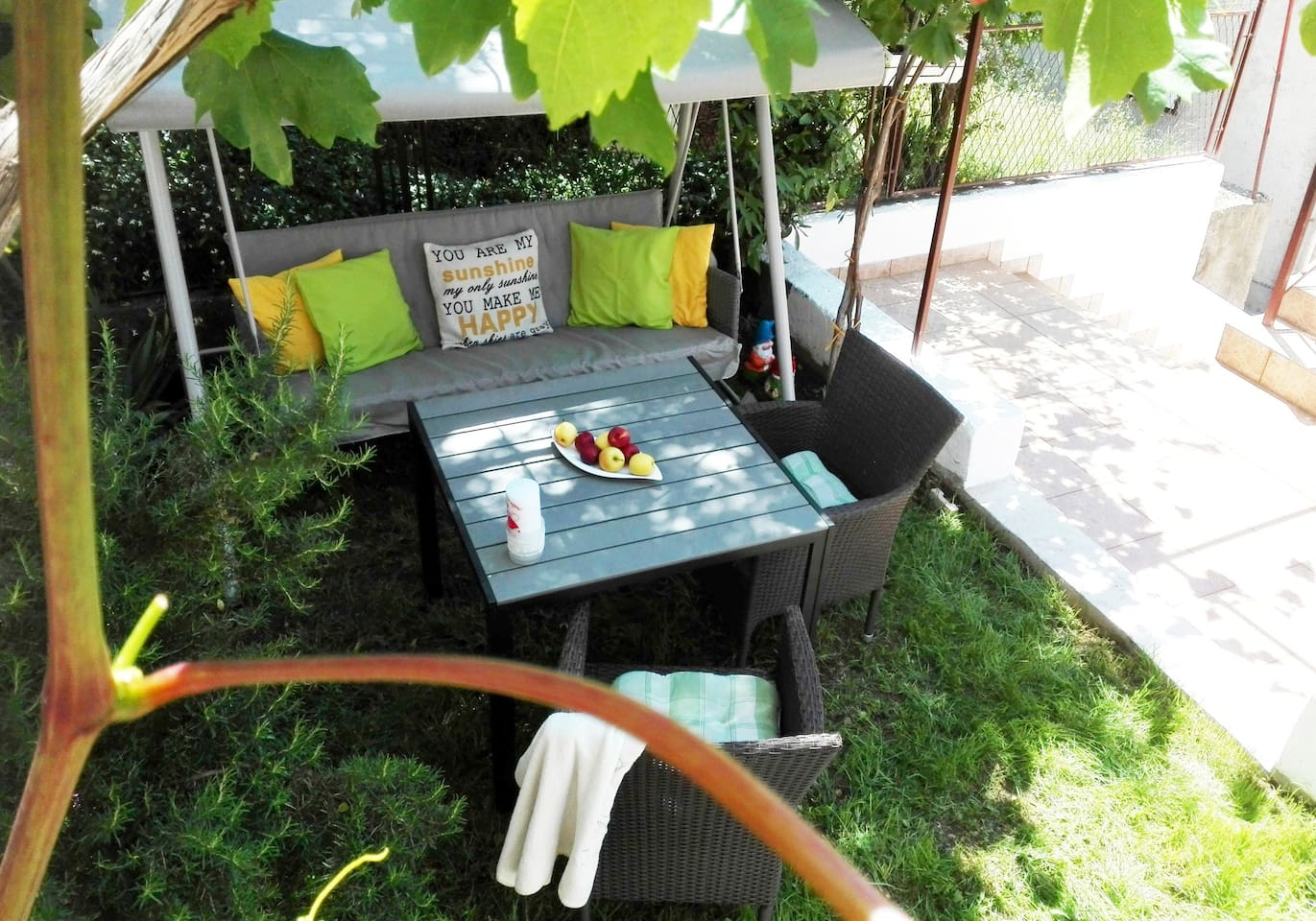 dear guests you this is our garden space , while resting in the shade of the vine trees and you  are more than welcome to relax and enjoy the view while maybe having coffee our having a meal :)