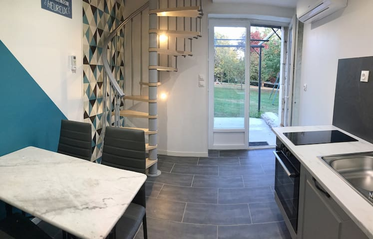 Chambre avec terrasse, cuisine aménagée 20 mn Caen